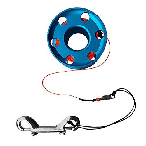 D DOLITY Tauchen Finger Spool Reel Line mit Dual Bolt Clip - Blau und Orange, 30m