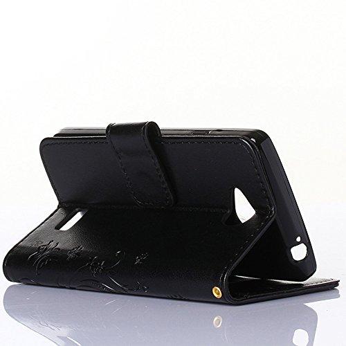 """LG F60 Hülle, LG F60 Schutzhülle, Alfort 3 in 1 Lederhülle Fashion Design Premium PU Leder Hohe Qualität Tasche Case Cover Kasten Abdeckung Wallet für LG F60 / D390N / D392 4.5"""" Smartphone Funktion St Schwarz"""