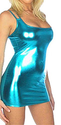 Befox Frauen Sexy Straight Coated Leder Kurzes Kleid Club Nachtclub Mini Kleid Wetlook Clubwear Erotische (Nuttig Billig Kostüme)