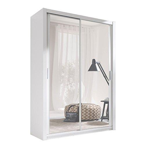 Kleiderschrank mit Spiegel Geodi, Elegante und Modernes Schwebetürenschrank, Schiebetür, Schlafzimmerschrank, Schlafzimmer, Jugendzimmer (120 cm,...