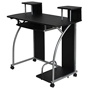 Tectake bureau informatique table de travail ordinateur for Meuble bureau amazon