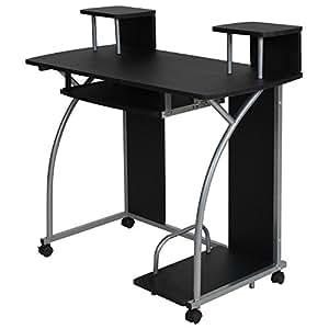 tectake bureau informatique table de travail ordinateur jeunes mobilier meubles pc noir amazon. Black Bedroom Furniture Sets. Home Design Ideas