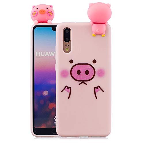 Rose-Otter Kompatibel für Huawei P30 Pro Hülle Handyhülle Silikon TPU Ultra Dünn Slim Stoßfest Bumper Schutzhülle Tasche Case Cover mit 3D Muster - Cute Schwein + Pink -