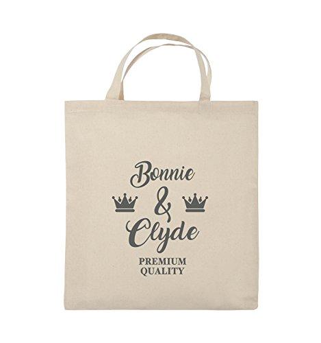 Commedie - Bonnie & Clyde - Premium Motif - Borsa In Juta - Manico Corto - 38x42cm - Colore: Nero / Rosa Naturale / Grigio