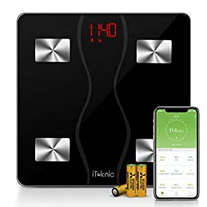 iTeknic Body Fat Scale, 11 Health Measurements Digital Bluetooth Bathroom Weight Monitor with Larger LED Display and Tempered Glass Surface, Smartphone APP, FDA Approved, 180kg/397lb