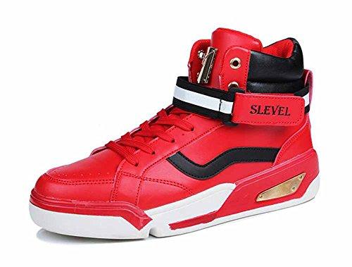 Basketball-schuhe Für Die Jugend (Männer Casual Wohnungen Schuhe Jugend Trend Skateboard Schuhe Studenten Einfache Britische High-top Sneakers ( Color : Rot , Size : 42 ))