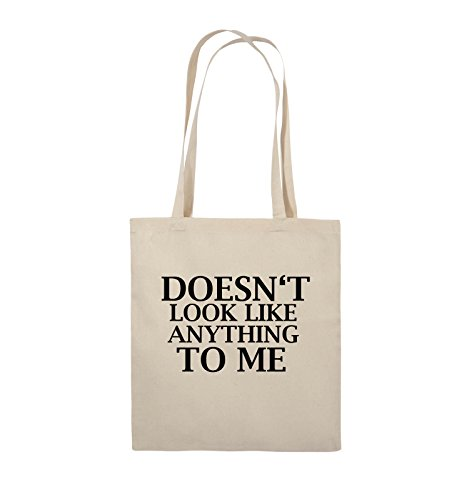 Comedy Bags - DOESN'T LOOK LIKE ANYTHING TO ME - Jutebeutel - lange Henkel - 38x42cm - Farbe: Schwarz / Silber Natural / Schwarz