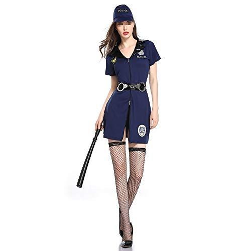 YLiansong Halloween Kostüm Game Suit Sheriff Cosplay Kostüm Cosplay Uniform Set Halloween Kostüm for Erwachsene Cosplay Party Kostüm (Farbe : Blau, Größe : L) (Weibliche Sheriff Kostüm)