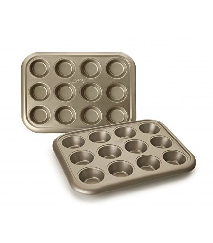 12 Muffin Pan Cup (Ibili Golden Class 12 Cup Muffin Pan, 38 x 29 cm, Stahl, Gold, 38 x 29 x 30 cm)