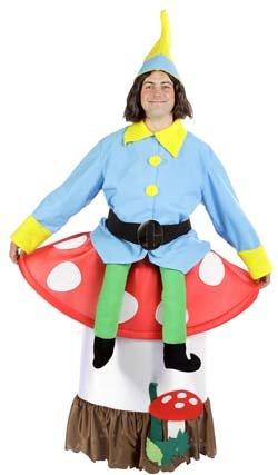 Imagen de disfraz humorístico de enano sentado en seta  l
