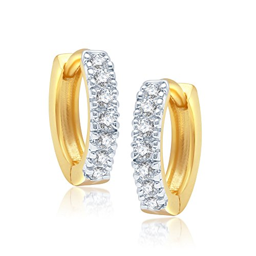 VK Jewels Fancy Gold And Rhodium Plated Alloy Bali Earrings for Women & Girls made with Cubic Zirconia- BALI1001G [VKBALI1001G]