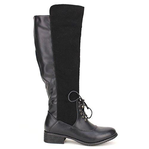Cendriyon, Botte Noire JENNIKA Lacet Chaussures Femme Noir