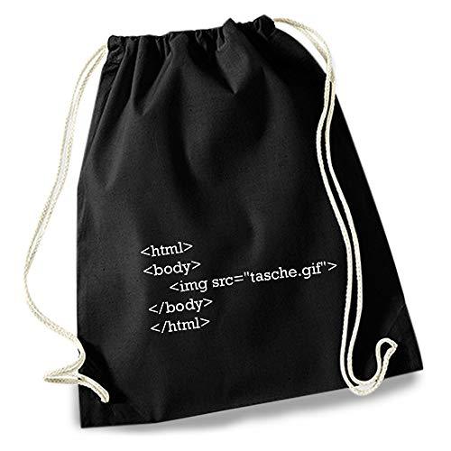 HAPPY FREAKS Turnbeutel/Stoff-Rucksack \'HTML\' - Unisex-Rucksack für Konzert, Schule, Freizeit und Einkauf