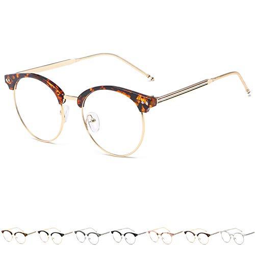 KOOSUFA 50er Jahre Retro Brille ohne Sehstärke Damen Herren Rund Nerd Brille Brillengestelle Metallrahmen Deko Brille Vintage Brillenfassung mit Etui (Hawksbill)