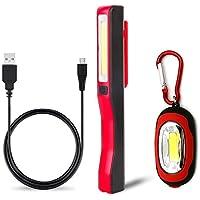 Recargable Linterna de trabajo, lámpara de inspección 3W LED COB Portátil Linterna y Linterna llavero, para Emergencia,Taller,Automóviles