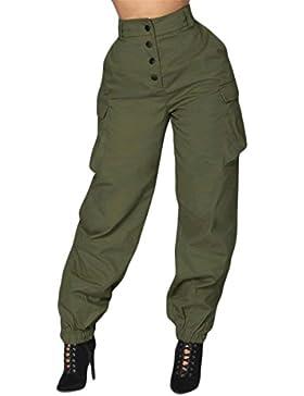 Mujer Pantalon Cargo Fashion Cintura Alta Anchas Pantalones De Tiempo Libre Elegantes Vintage Joven Bastante Cómodo...