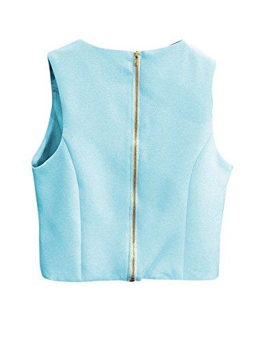 sourcingmap Femme croisé Front Haut Court w Taille Haute Jupe Trapèze Set Bleu