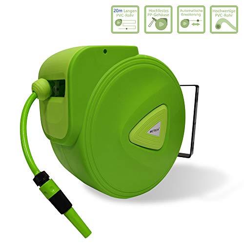 HENGMEI Schlauchtrommel Mobile Gartenschlauch mit 20 m + 2m Schlauch - Schlauchaufroller Automatischer Schlauchbox 180°schwenkbar für Bewässerung, Autowäsche