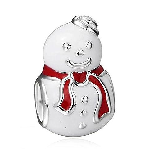 Snowman Charms Fits Pandora Bracelets White and Red Enamel 925