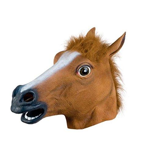 Butterme Halloween Kostüm Cosplay Party Latex Tier Pferd Kopf Maske für Erwachsene Brown