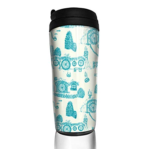 Travel Coffee Mug Blue Shire Toile 12 Oz Spill Proof Flip Lid Water Bottle Environmental Protection Material ABS