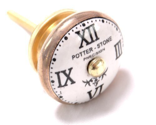 Potter-Stone UK Möbelknöpfe, Motiv 'Wanduhr', 42 mm, 1 Packung