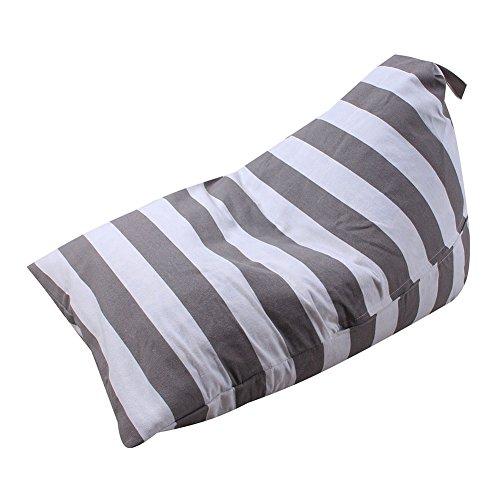 Gaeruite Sitzsack Kinder - Indoor & Outdoor Sitzsac - Plüsch-Spielzeug-Aufbewahrungstasche - Kid GefÜLlt Tier PlÜSchtier Lagerung Sitzsack Weichen Beutel Streifen Stoff Stuhl 100% Baumwolle (A gray) - Baumwolle Stoff Stuhl