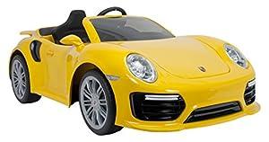 INJUSA Coche Porsche 911 Turbo S de 6V para Niños +3 Años con Control Remoto y conexión MP3, Color Amarillo (7182)