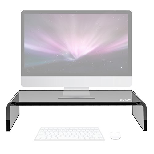 Duronic DM054 Black Acrylic Stand Riser for PC Computer Monitor / Laptop and TV (50cm X 20cm / 30kg capacity) + 2 Year Warranty
