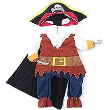 UEETEK Gato del animal doméstico perro ropa ropa de traje con sombrero pirata traje vestido pirata