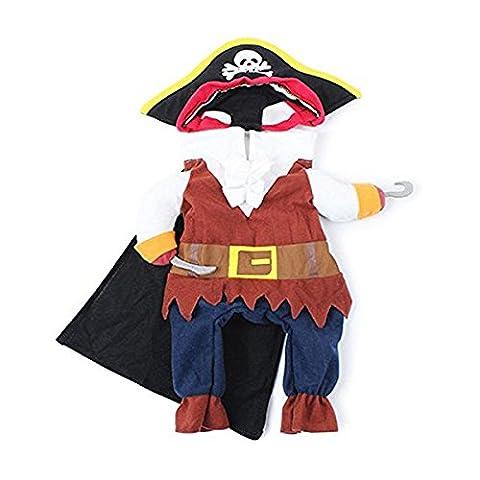 UEETEK Haustier Katze Hund Kleidung Anzug Kleidung mit Hut Pirat Kostüm Kleid Pirate S
