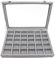 24 Grid Velvet Jewelry Tray for Drawers Glass Clear Lid Showcase Display Storage Ring Trays Holder Earrings Or