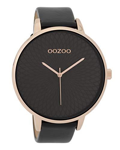 Oozoo Damenuhr mit Lederband 48 MM Rose/Schwarz/Schwarz C9729