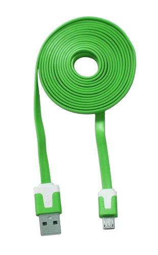COM-FOUR® Ladekabel USB auf micro USB Stecker für Ihr Smartphone Flachkabel 2 Meter (Grün)