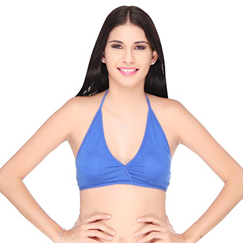 Big Tree Halter Neck Plain / Solid Bra (Size-Medium) (Color-Blue)  available at amazon for Rs.199