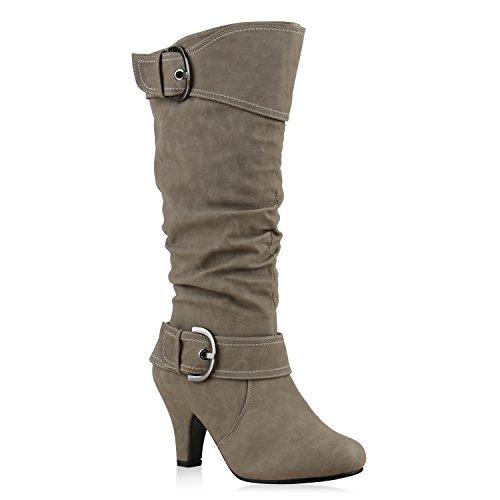 Elegante Damen Stiefel Warm Gefütterte Winter Boots Schuhe Hellgrau