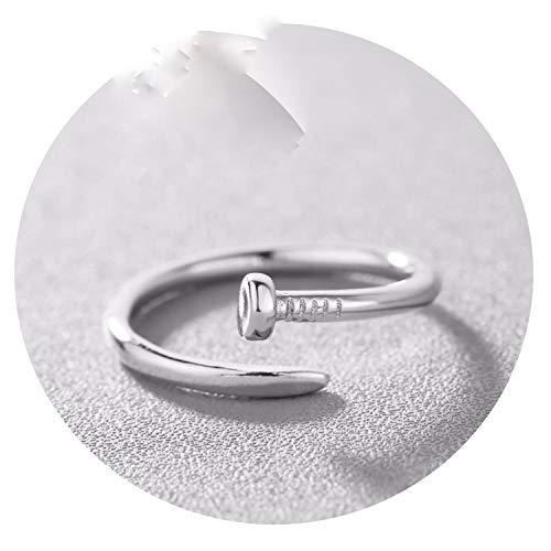 It's-ok Herren-Ring aus Sterlingsilber, für Damen, verstellbar, einfacher Ring