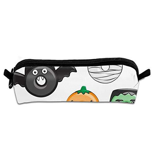 Halloween Donut Medley White Pumpkin Frankenstein Pencil Pen Case Pouch Bag with Zipper for Girls Kids School Student Stationery Office Supplies 21 X 5.5 X 5 cm