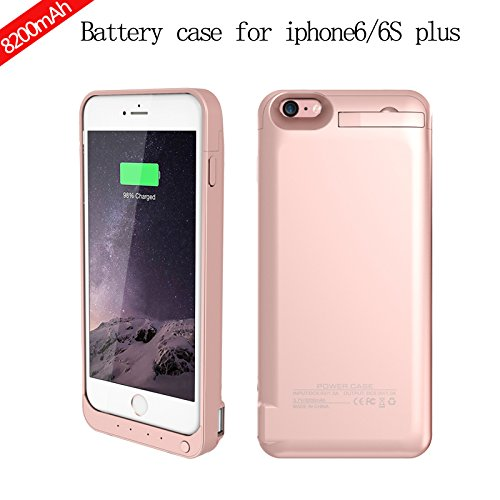 CaseforYou Batteriefach Hülle iPhone 6 / iPhone 6S Plus 8200mAh Taschen Schalen Akkus Rechargeable External Battery Backup Protective Case Power Bank Charger Cover with Kickstand Batteria Schützend Ba Rose Gold
