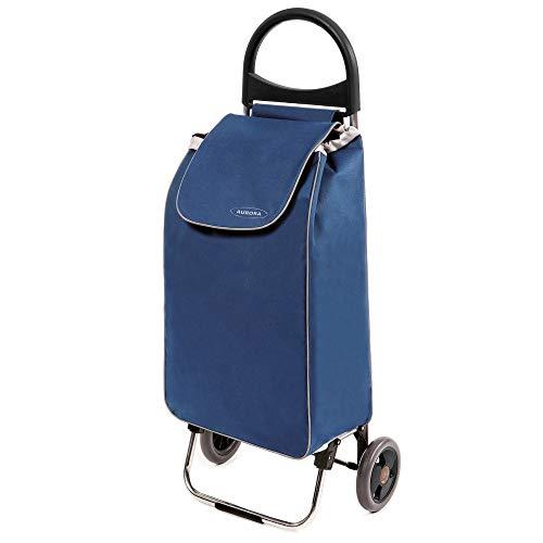 Einkaufstrolley Zussi in blau - Leichter Transport-Wagen Trolley 1,5kg mit leisen Gummi Rädern - Einkaufsroller mit 50l bis 30kg belastbar