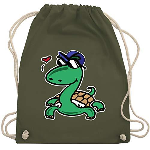 Tiermotive Kind - Schildkröte mit Sonnenbrille - Unisize - Olivgrün - WM110 - Turnbeutel & Gym Bag