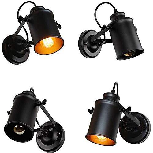 Loft Swing Arm (Yaione Vintage Loft Stil mit einstellbarem Swing Arm Retro-Wand-Lampe Licht Leuchte Wohnzimmer Schlafzimmer Spotlight E27 Edison-Beleuchtung for Esszimmer Küche Restaurant Cafe Bar (Color : Black))