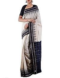 Unnati Silks Women's Cotton Saree, Free Size (Cream, Unm18425)