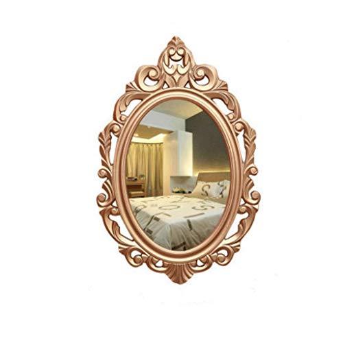 WENYAO Badezimmerspiegel Holzrahmen Wand Hohl Kosmetikspiegel Gold (Größe: Klein)