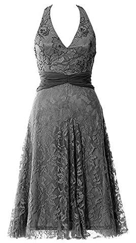 MACloth Women Halter V nevk Short Formal Evening Gown Lace