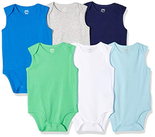 Amazon Essentials 6-Pack Sleeveless Bodysuits infant-and-toddler-layette-sets, Solid Blue & Green, 12M Baby Infant Bodysuit