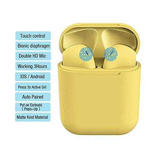 Auriculares inalámbricos Bluetooth Micrófono con cancelación de Ruido Estéreo Deportivo Real con Estuche Power Bank para Todos Teléfono móvil Samsung Teléfono Inteligente LG Laptop MP4 (Amarillo)