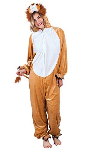Löwe Plüsch Kostüm - Karneval-Klamotten Löwe-n Kostüm Damen aus Plüsch Erwachsene Löwe Overall Damen Karneval Tier-Kostüm Damen-Kostüm Einheitsgröße