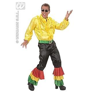 all4yourparty 70er Disco Satin-Schlaghose mit Pailletten schwarz-bunt L