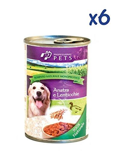 Professional Pets Monoproteico all'anatra con lenticchie (6x400g) - Cibo umido ipoallergenico all'anatra, per cani adulti